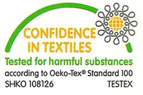 Oekotex Zertifikat des Royal Suede Materials der SuperSack Dekokissen