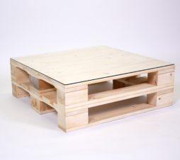SuperSack Palettenmöbel Paletten-Lounge-Tisch 80x80 natur o. lasur neu o. aufbereitet mit Glasplatte