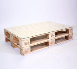 SuperSack Palettenmöbel Paletten-Lounge-Tisch natur o. lasur neu o. aufbereitet mit Glasplatte