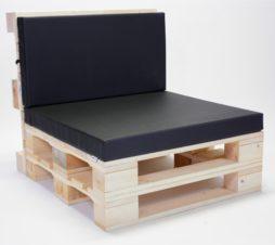 SuperSack Palettenmöbel Palettensessel natur o. lasur neu o. aufbereitet mit Kunstleder Palettenkissen schwarz