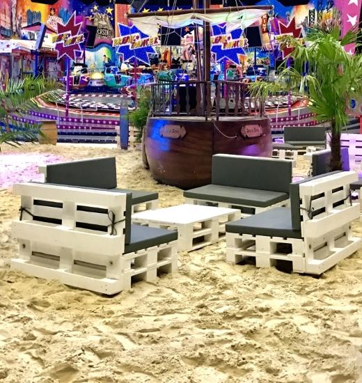 Palettenmöbel mieten - Beach Lounges