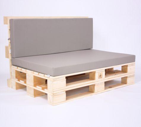 Palettensofa mit Palettenkissen Basic - Kunstleder - Taupe