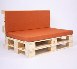 Palettensofa mit Palettenkissen Basic - Savana - Orange