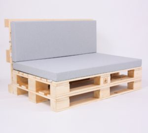 Palettensofa mit Palettenkissen Outdoor - Light Mouse