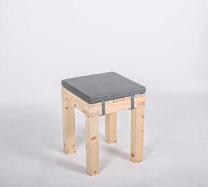 Sitzhocker KOMFORT mit Kunstlederauflage aschgrau