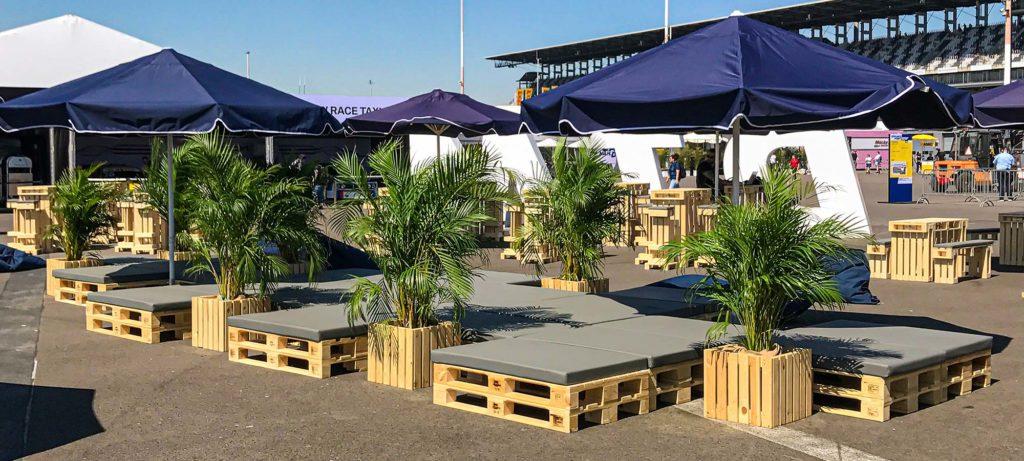 Palettenmöbel für Events mieten bei SuperSack