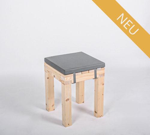 Sitzhocker KOMFORT - mit Polster aschgrau - NEU