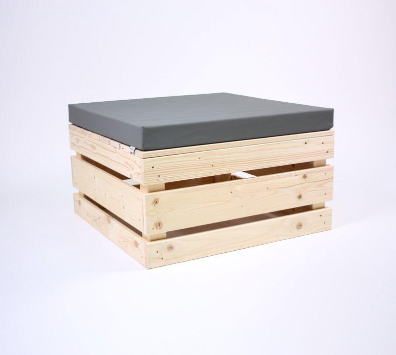 Paletten-Sitzinsel 2.0 quadrat mit Palettenkissen Kunstleder - Aschgrau