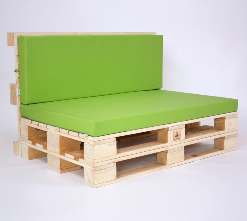 Palettensofa mit Palettenkissen Kunstleder - Green