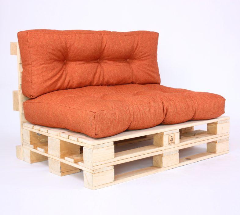 Palettensofa mit Palettenkissen Gesteppt Savana - Orange