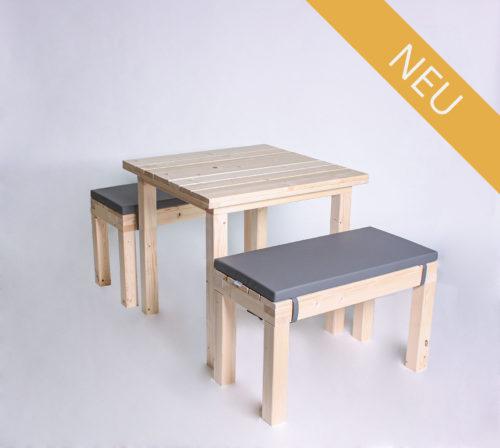 Sitzgarnitur KOMFORT - 80 cm Tischlänge - für 4 Personen - NEU