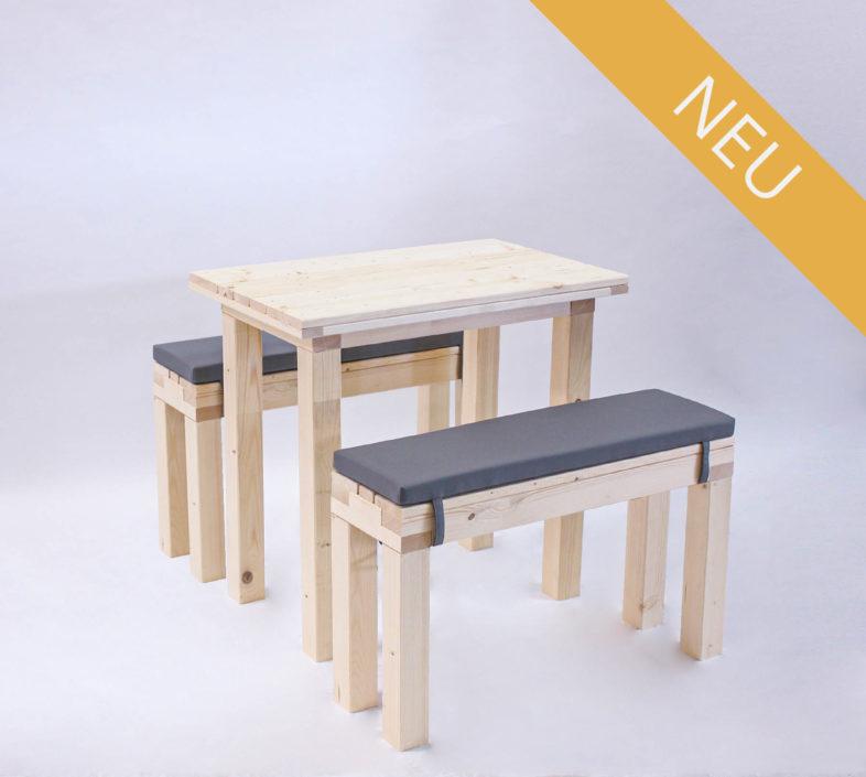 Sitzgarnitur KOMPAKT - 80 cm Tischlänge - für 4 Personen - NEU