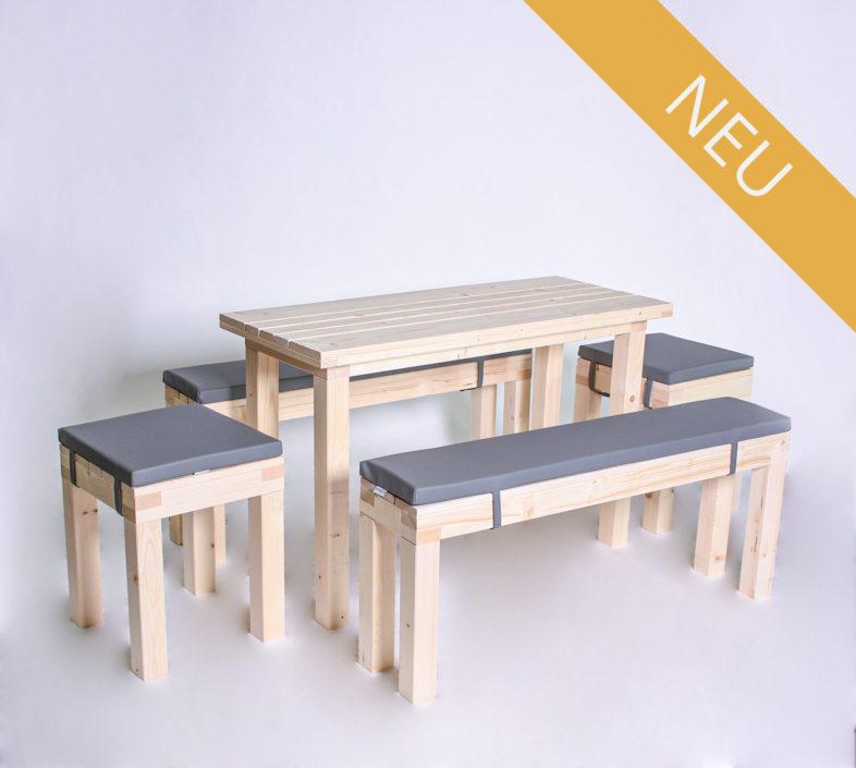 Sitzgarnitur KOMPAKT - 120 cm Tischlänge - für 8 Personen - NEU