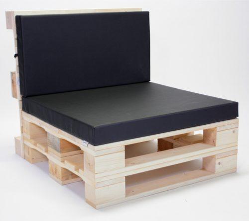 Paletten-Sessel mit Palettenkissen Kunstleder - Schwarz