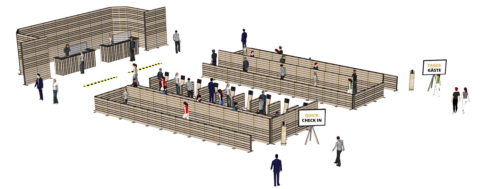 Besucher-Leitsysteme - Messebau bei SUPERSACK - mobile